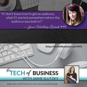 """If I don't know how to get an audience, what if I started somewhere where the audience was built in?"" Jenni Waldrop, Etsy Shop Owner, Fuzzy and Birch on the Tech of Business podcast episode 45 with Jaime Slutzky discussing MemberVault"